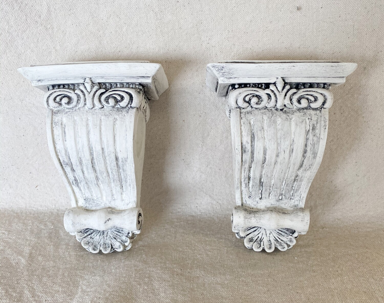 Antiqued White Resin Corbel Pair