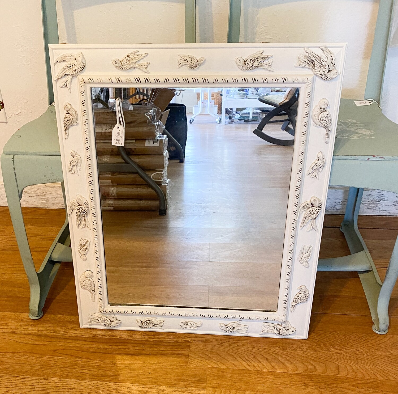 White Antiqued Bird Mirror