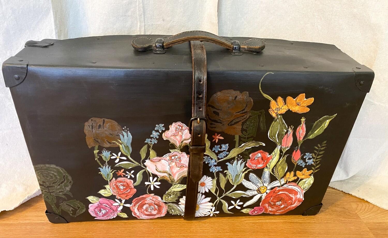 Black Floral Vintage Suitcase