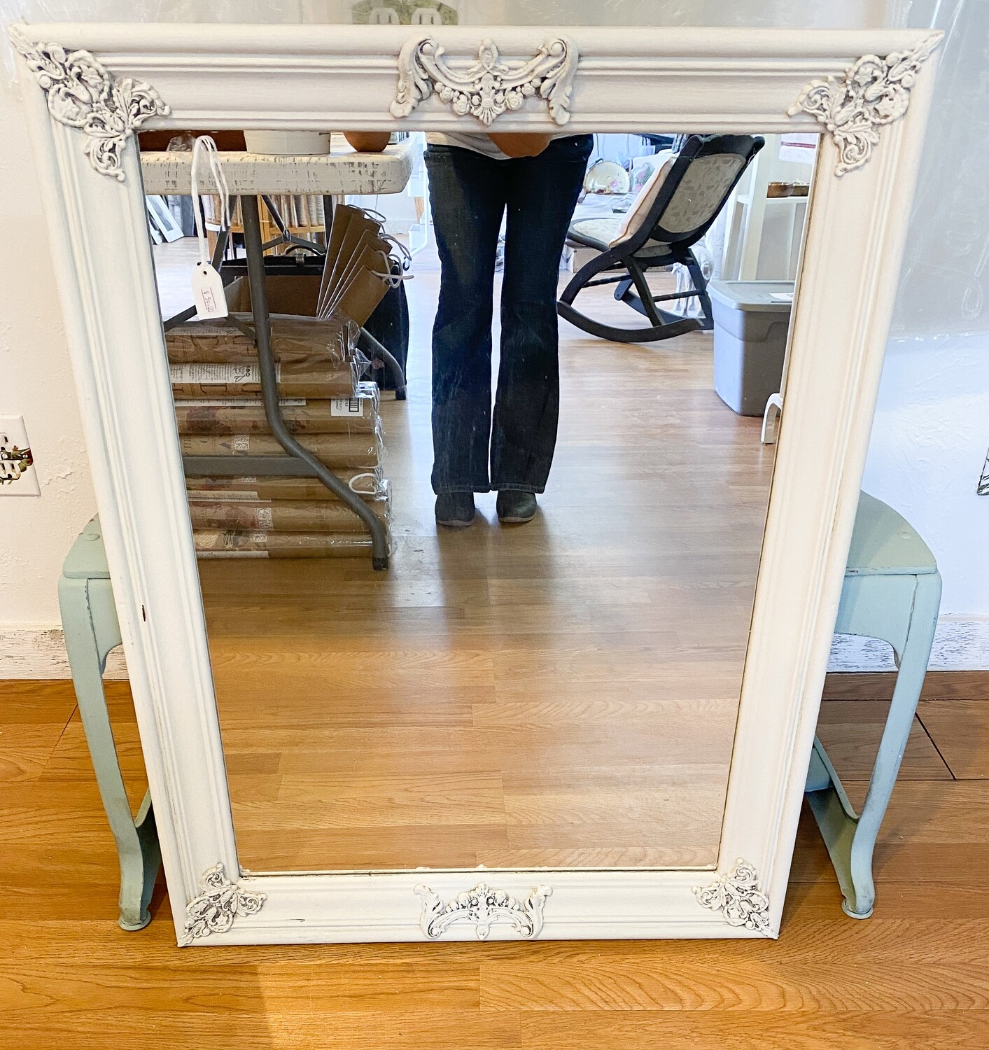 White Antiqued Mirror