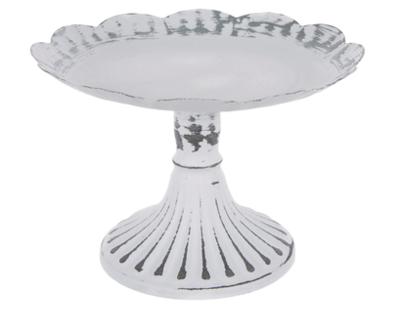 White Scalloped Galvanized Metal Pedestal