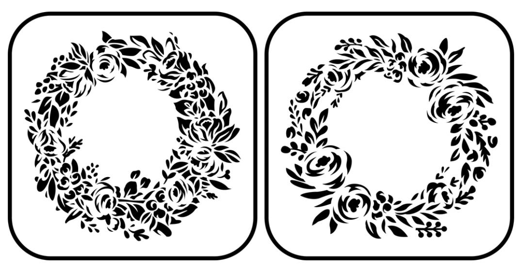 JRV Floral Wreath 2 Pack Stencil