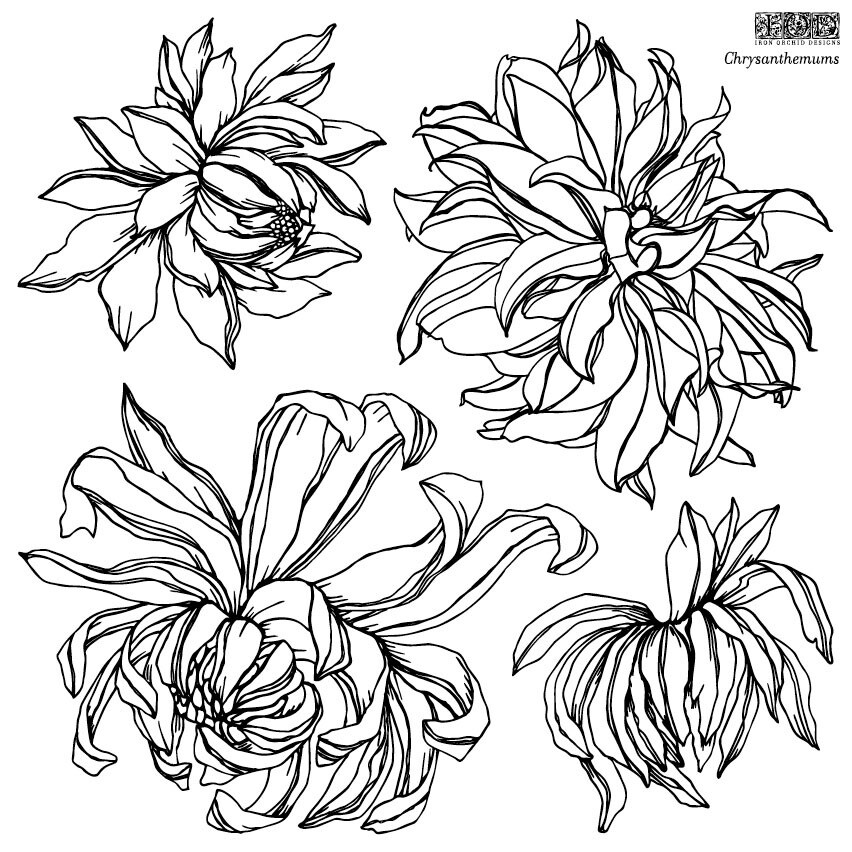 IOD CHRYSANTHEMUM 12×12 DECOR STAMP