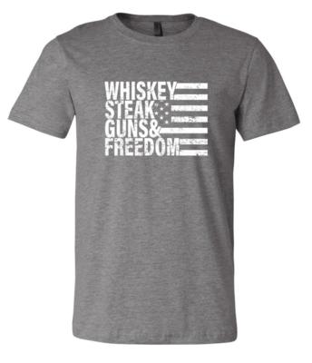 Gray Whiskey Steak Guns & Freedom T-Shirt