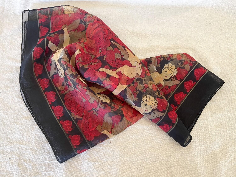 Vintage Black & Red Floral Chiffon Scarf