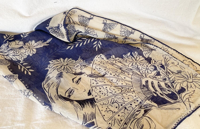 Vintage Blue & Ivory Floral Chiffon Scarf