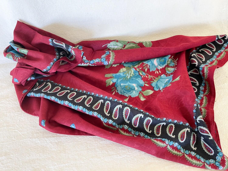 Vintage Dark Red Floral Print Scarf