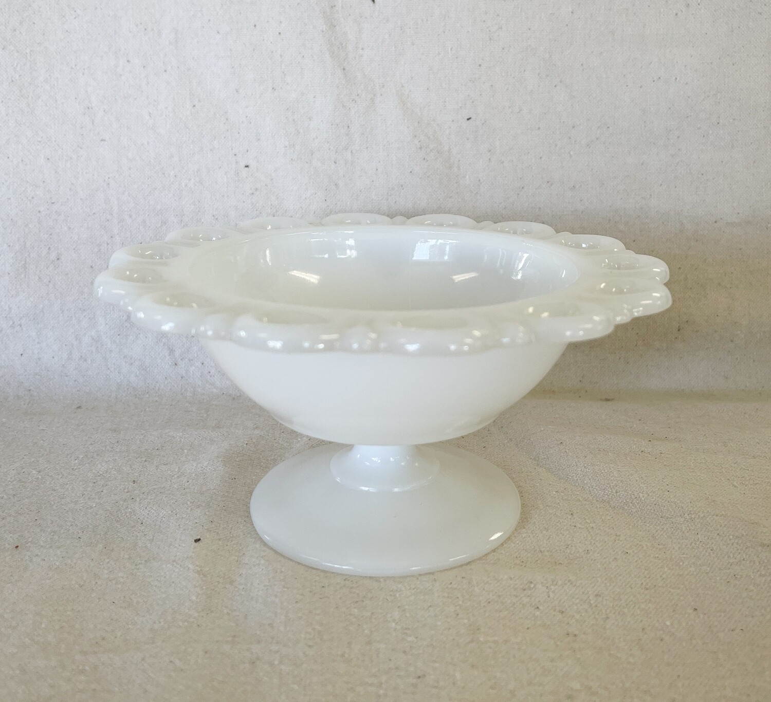 Anchor Hocking Milk Glass Open Lace Compote