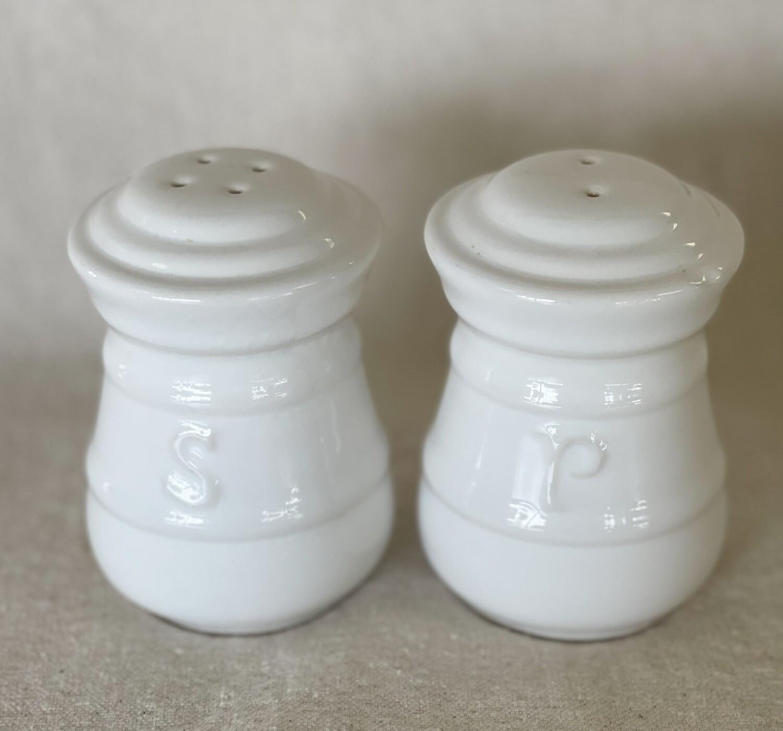 White Ceramic Salt & Pepper Shaker Set