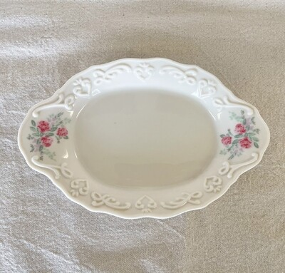 Ivory Floral Ceramic Dish / Soap Dish