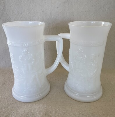 Federal Milk Glass Stein - Pub Scene - Set of 2