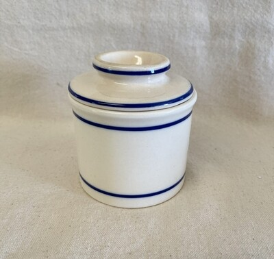 Ivory & Blue Stoneware French Butter Crock