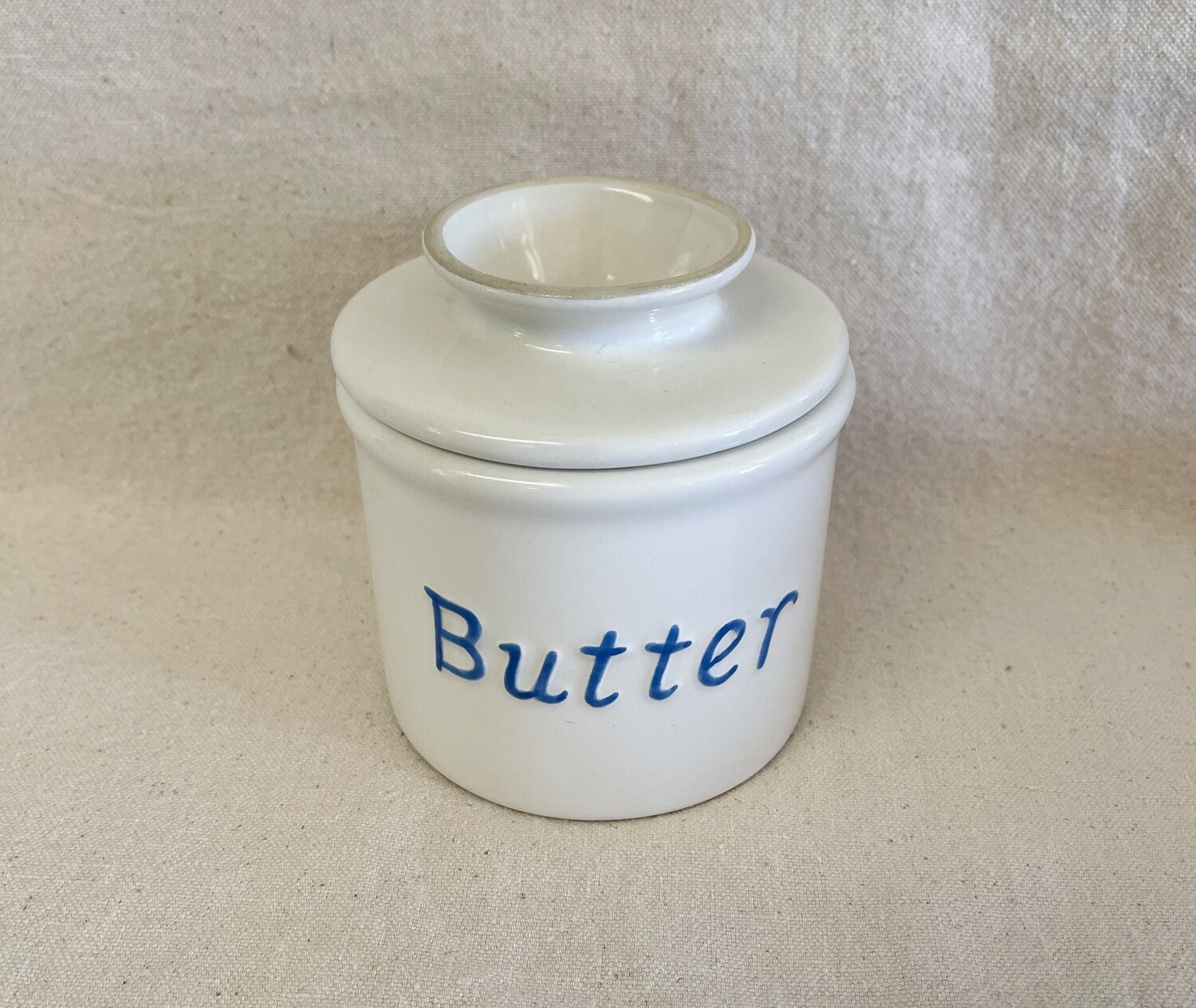 White & Blue French Butter Crock