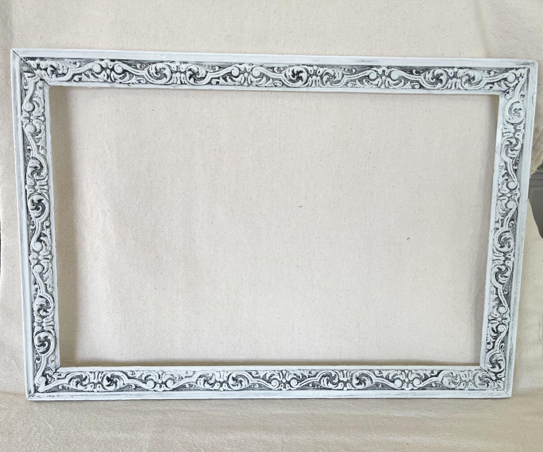 White Antiqued Resin Frame