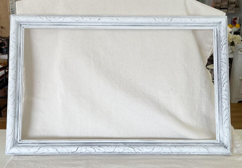 White Antiqued Wood Frame