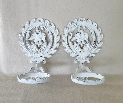 White Distressed Cast Iron Flower Pot Hanger Pair