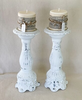 White Distressed Ceramic Candlestick Pair