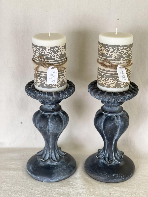 Rustic Resin Candlestick Pair