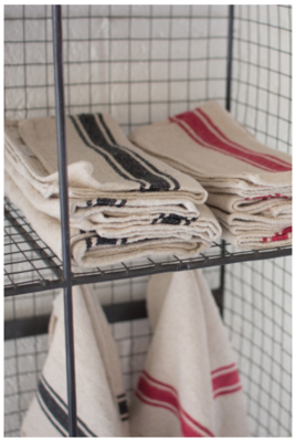 Cotton Kitchen Towels - Red Stripe