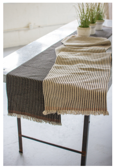 COTTON AND JUTE TABLE RUNNER - Black
