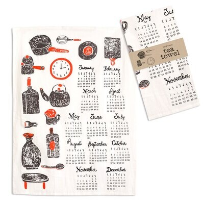 "Kitchenware Calendar Tea Towel 20"" x 28"""