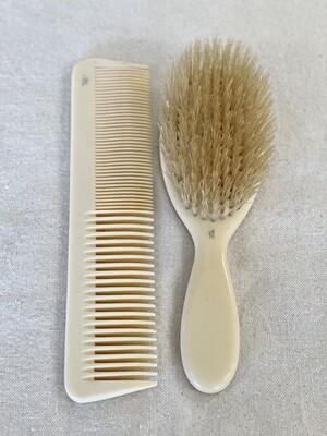 Vintage French Ivory Brush & Comb Set