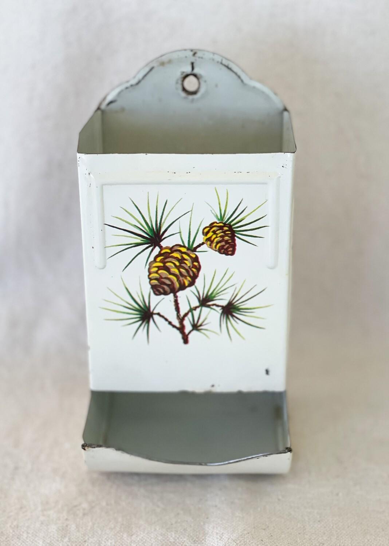 Vintage Tin Match Stick Holder - Evergreen