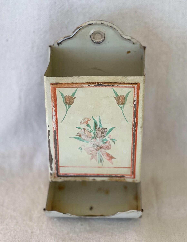 Vintage Tin Match Stick Holder - Floral