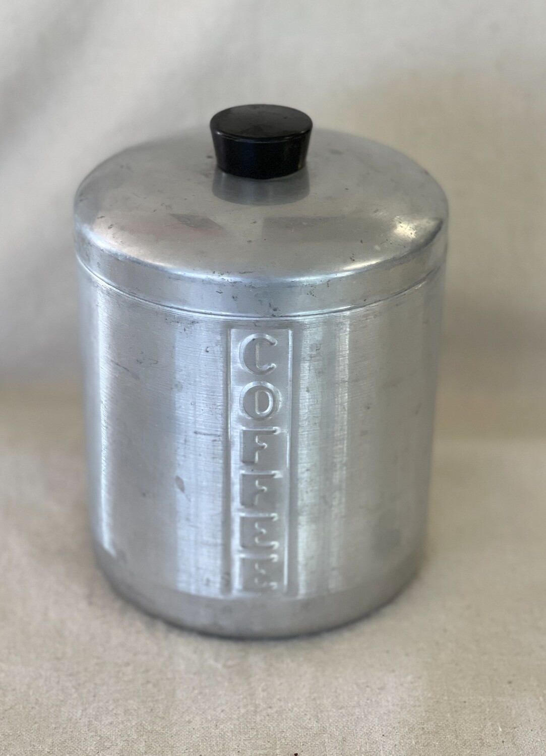 Vintage Brushed Aluminum Coffee Canister
