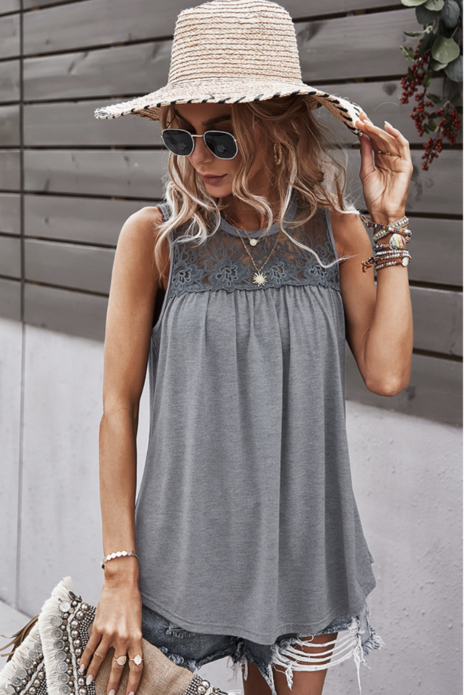 Crew Neck Lace Solid Gray Loose Fit Top