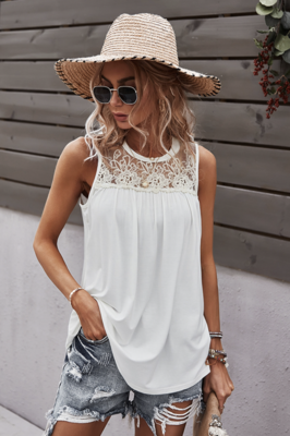 Crew Neck Lace Solid Ivory Loose Fit Top