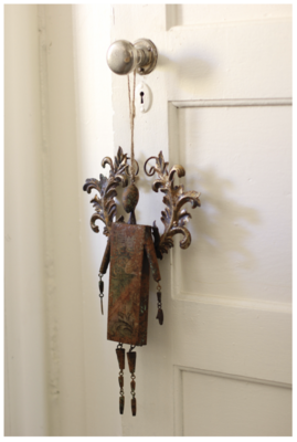 Rustic Metal Angel Ornament
