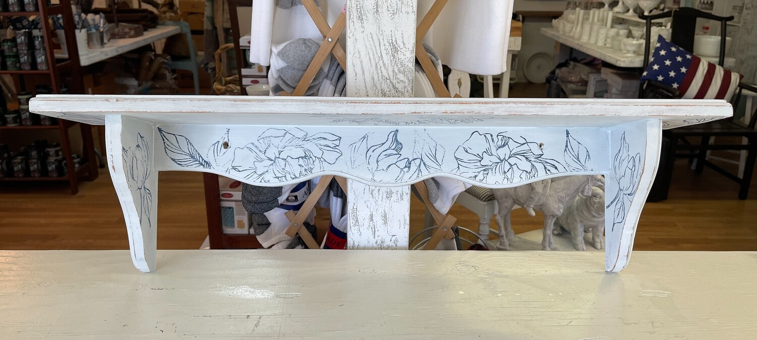 White Floral Wood Plate Shelf