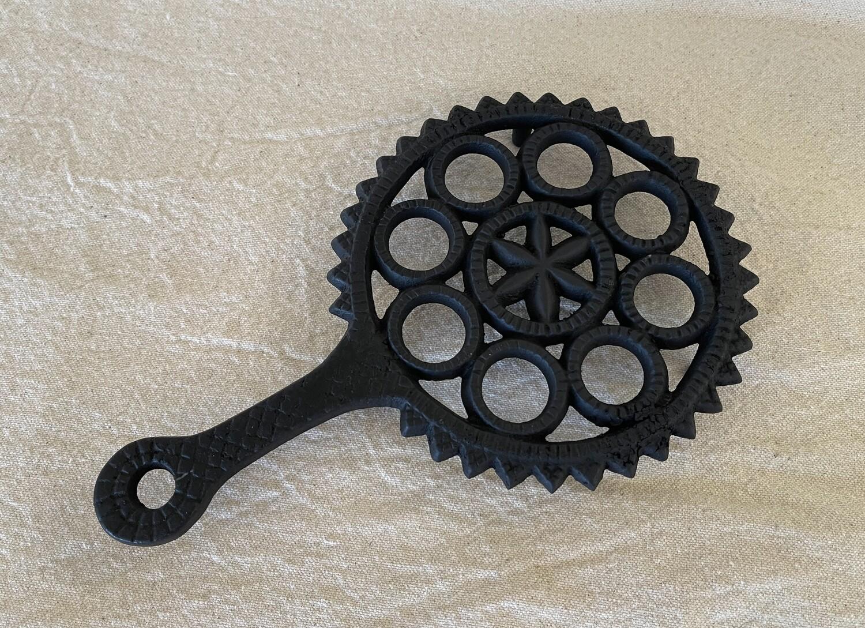 Vintage Cast Iron Trivet - Hex Sign