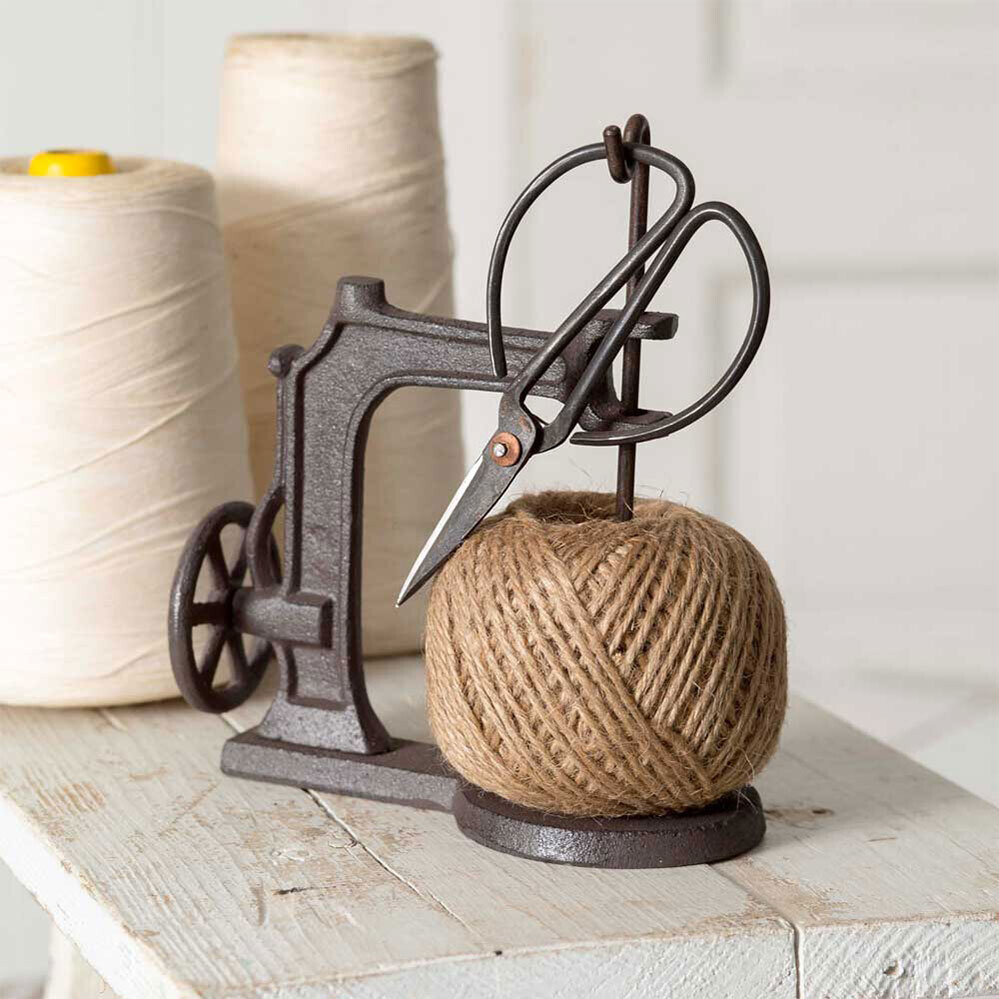 Cast Iron Sewing Machine Twine Holder with Scissors