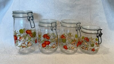 Arc France 1970s Spice of Life Glass Kitchen Canister Hermetic Jar Set