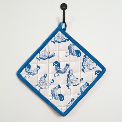 Blue and White Chickens Pot Holder