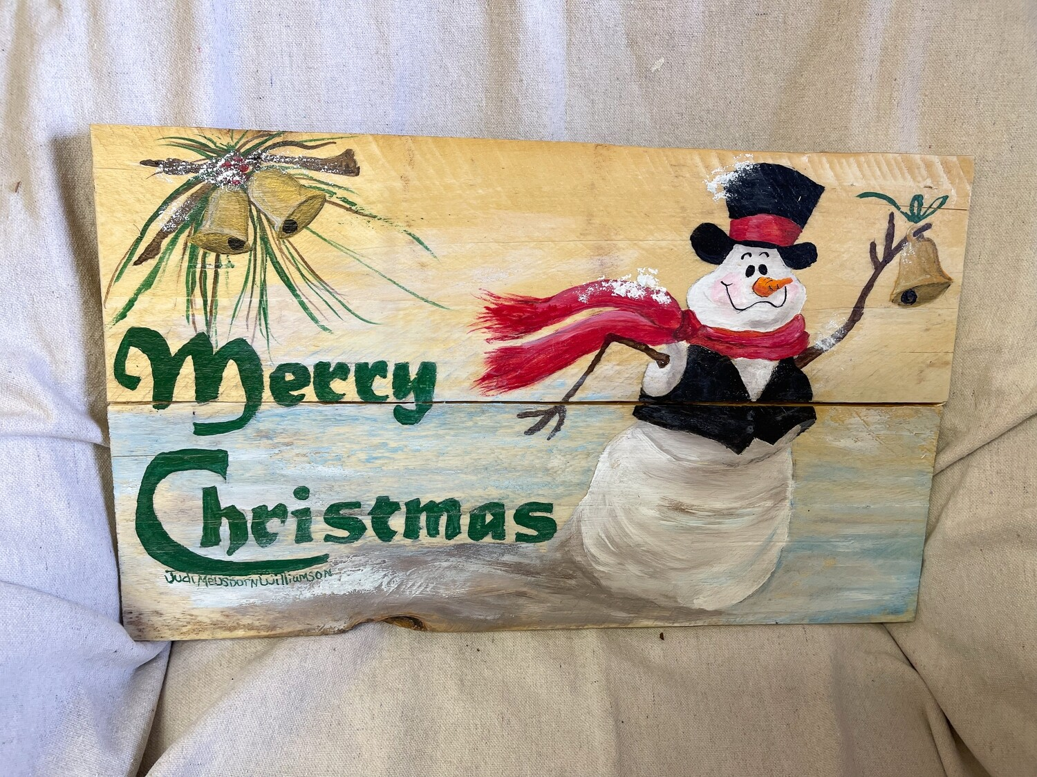 Hand Painted Merry Christmas Wood Sign