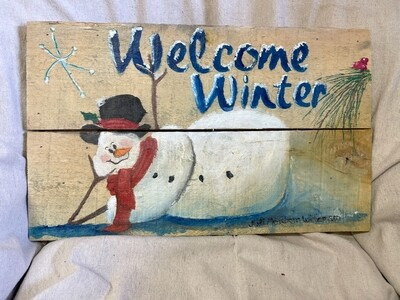 Hand Painted Welcome Winter Wood Sign
