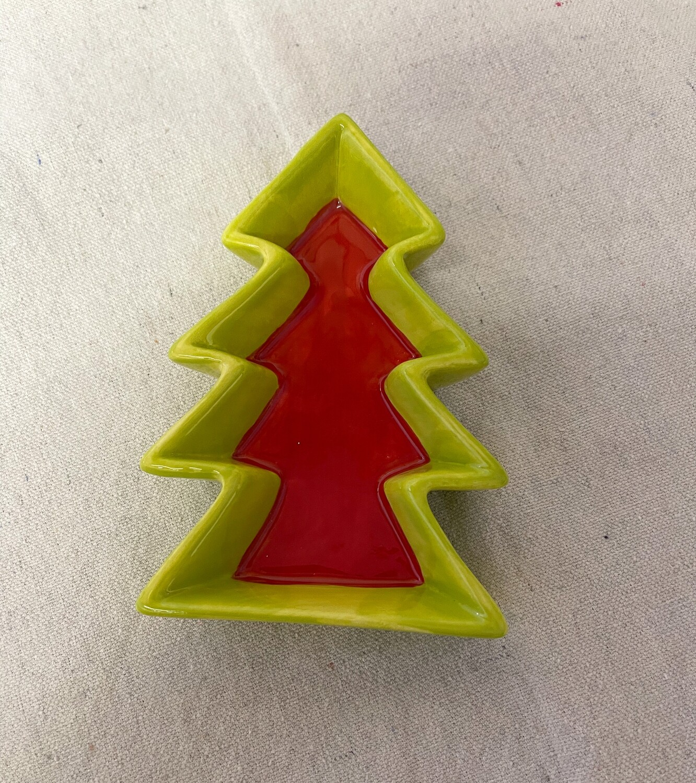Ceramic Christmas Tree Candy Dish Set of 2