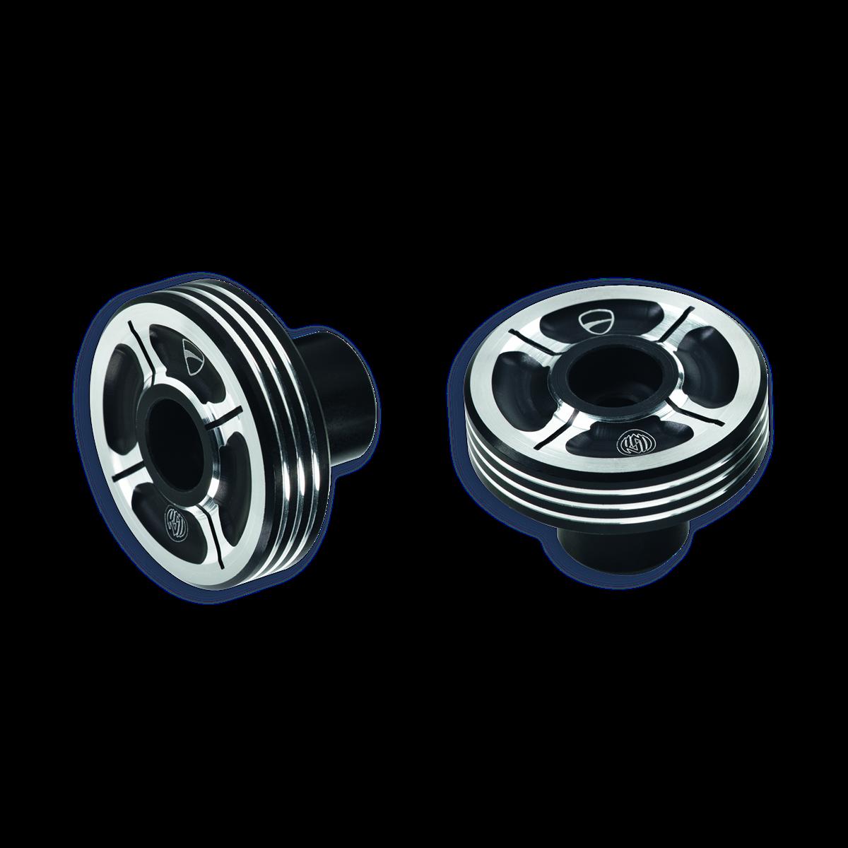 Billet aluminium handlebar balancing weights.