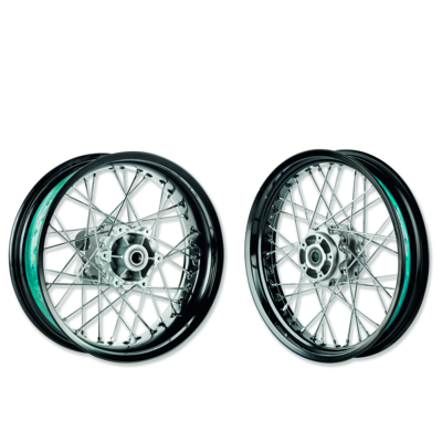 Aluminium spoke rim set.