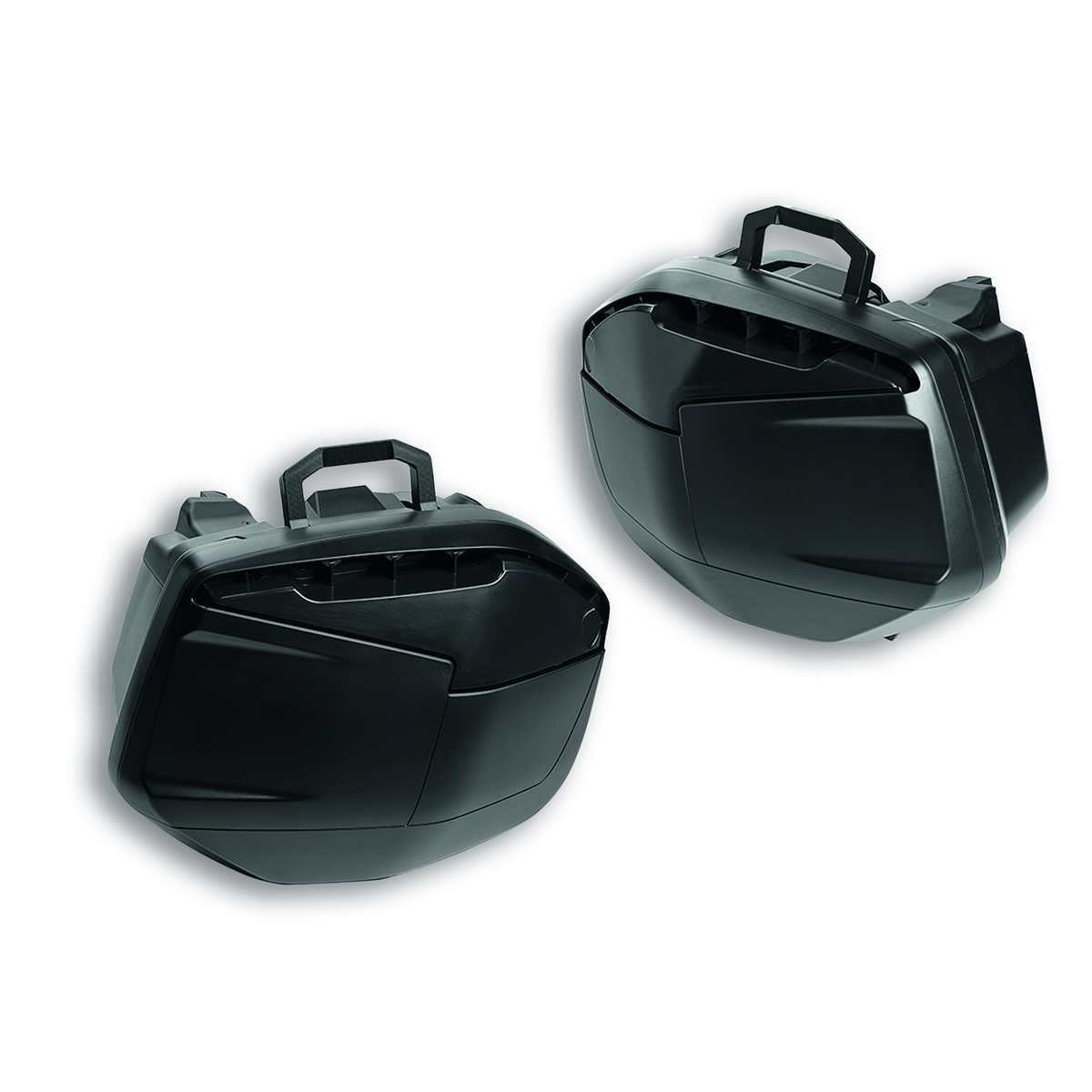 Set of rigid side panniers.