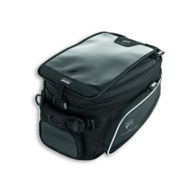 Tank bag with tank-lock fastener.