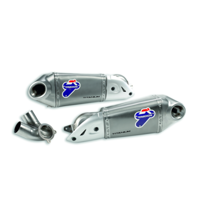 Racing silencers with titanium sleeve.