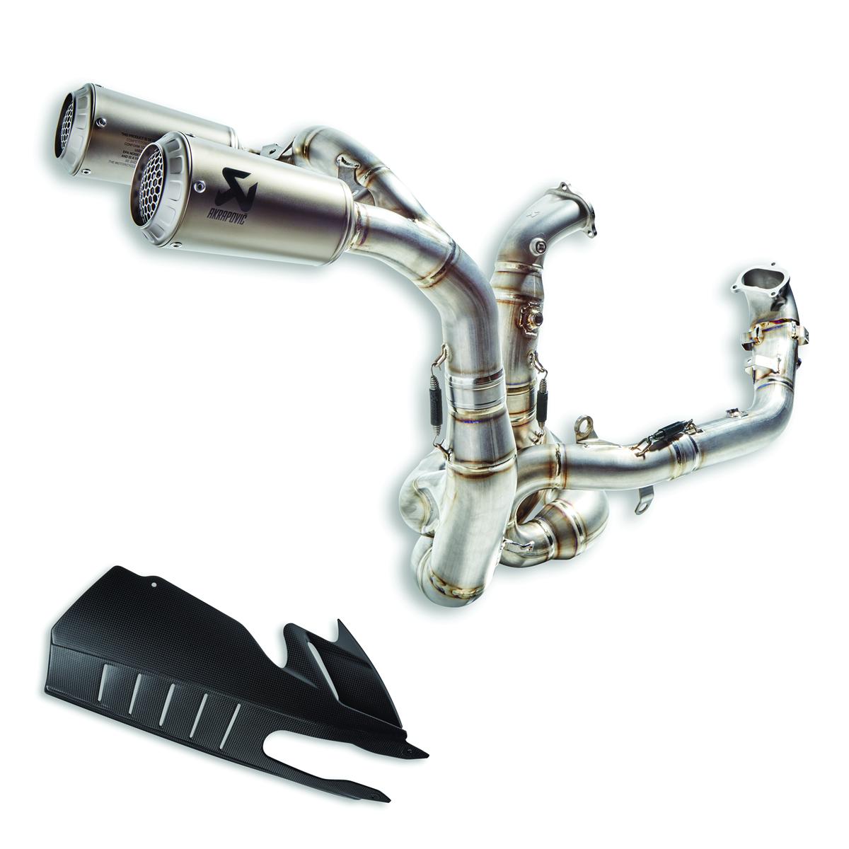 Complete titanium racing exhaust system.