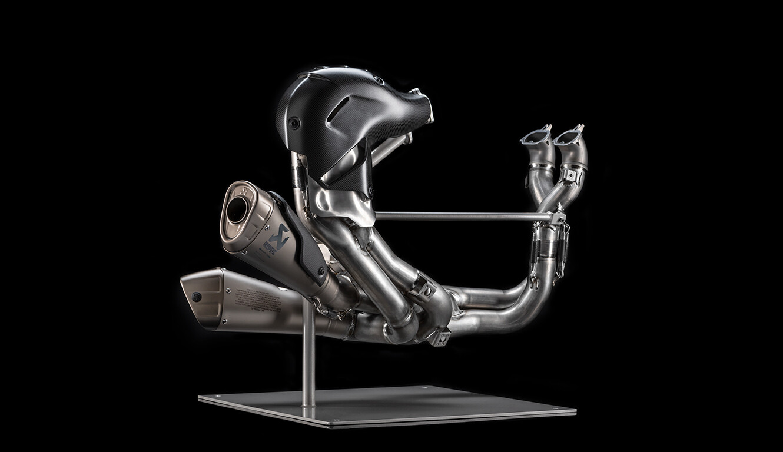 Complete titanium exhaust assembly.