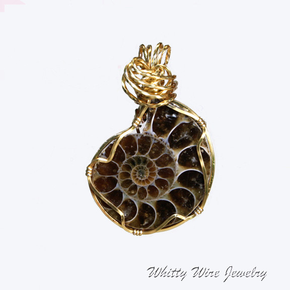 Wire Wrapped Ammonite Pendant