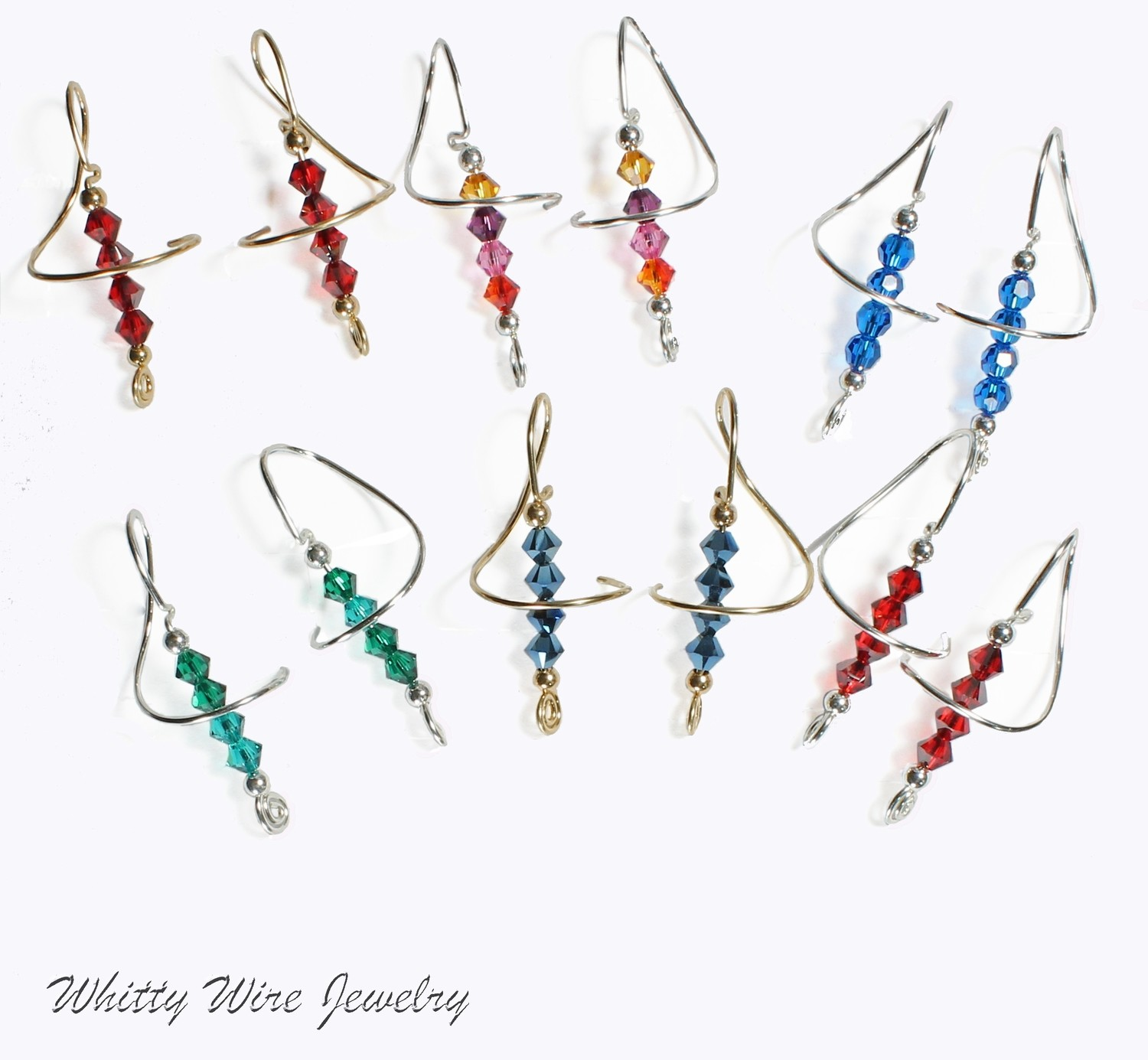 Swarovski Crystal Swirl Earrings with Choice of Sterling Silver, Argentium Silver or 14 K Gold Filled Ear Wires