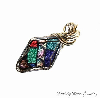 Wire Wrapped Dichro Glass Pendant: One of a Kind